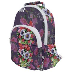 Vintage Flowers Pattern Rounded Multi Pocket Backpack by goljakoff