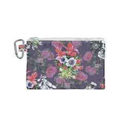 Vintage Flowers Pattern Canvas Cosmetic Bag (small) by goljakoff