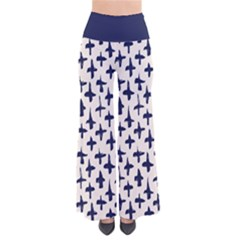 Pattern Ink Blue Navy Crosses Grunge Flesh And Navy Pattern Ink Crosses Grunge Flesh Beige Background So Vintage Palazzo Pants by genx