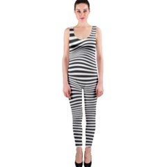Retro Psychedelic Waves Pattern 80s Black And White One Piece Catsuit by genx