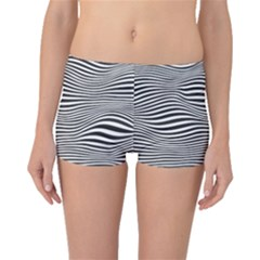 Retro Psychedelic Waves Pattern 80s Black And White Boyleg Bikini Bottoms by genx