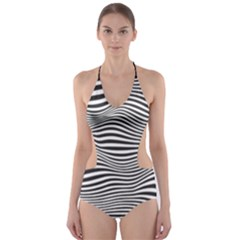 Retro Psychedelic Waves Pattern 80s Black And White Cut-out One Piece Swimsuit by genx