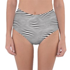 Retro Psychedelic Waves Pattern 80s Black And White Reversible High-waist Bikini Bottoms by genx