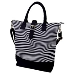 Retro Psychedelic Waves Pattern 80s Black And White Buckle Top Tote Bag