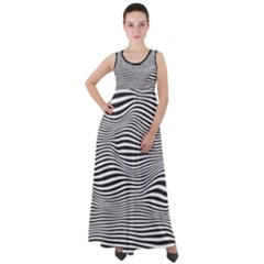 Retro Psychedelic Waves Pattern 80s Black And White Empire Waist Velour Maxi Dress by genx