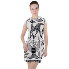 African Senufo Korhogo Tribal Ethnic Art Elements Vector Drawstring Hooded Dress by BluedarkArt