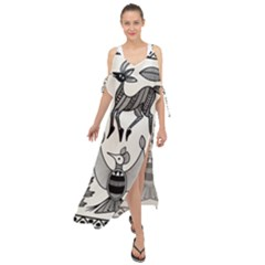 African Senufo Korhogo Tribal Ethnic Art Elements Vector Maxi Chiffon Cover Up Dress by BluedarkArt