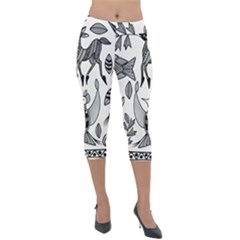 African Senufo Korhogo Tribal Ethnic Art Elements Vector Lightweight Velour Capri Leggings  by BluedarkArt