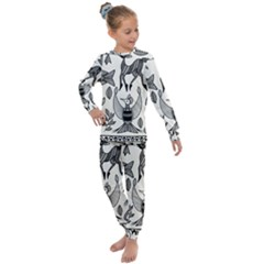 African Senufo Korhogo Tribal Ethnic Art  Kids  Long Sleeve Set  by BluedarkArt