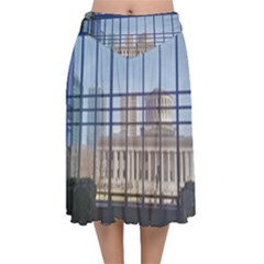 Ohio Statehouse Velvet Flared Midi Skirt
