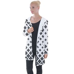 Black And White Tribal Longline Hooded Cardigan by retrotoomoderndesigns