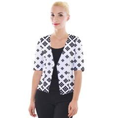 Black And White Tribal Cropped Button Cardigan by retrotoomoderndesigns