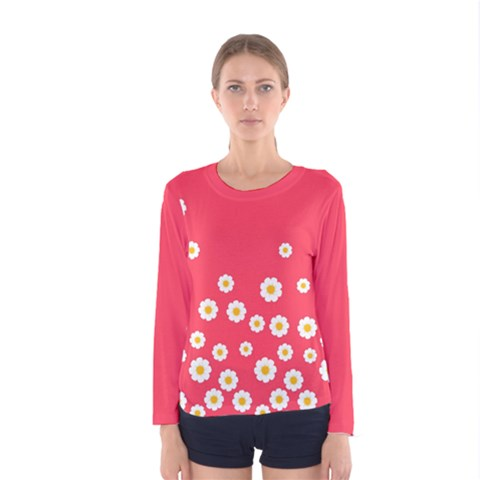 Flowers White Daisies Pattern Red Background Flowers White Daisies Pattern Red Bottom Women s Long Sleeve Tee by genx