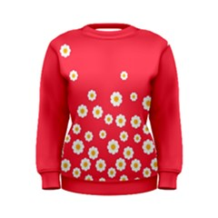 Flowers White Daisies Pattern Red Background Flowers White Daisies Pattern Red Bottom Women s Sweatshirt by genx