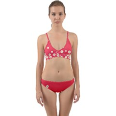 Flowers White Daisies Pattern Red Background Flowers White Daisies Pattern Red Bottom Wrap Around Bikini Set by genx