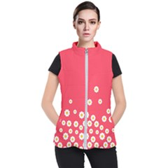 Flowers White Daisies Pattern Red Background Flowers White Daisies Pattern Red Bottom Women s Puffer Vest by genx