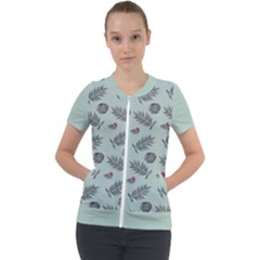 Tropical Pattern Short Sleeve Zip Up Jacket