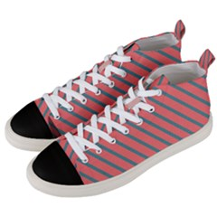 Living Coral Diagonal Stripes Men s Mid-top Canvas Sneakers by LoolyElzayat