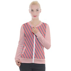 Living Coral Diagonal Stripes Casual Zip Up Jacket