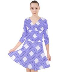Textile Cross Seamless Pattern Quarter Sleeve Front Wrap Dress