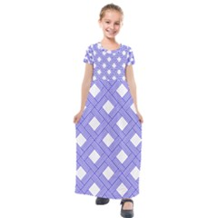 Textile Cross Seamless Pattern Kids  Short Sleeve Maxi Dress by Pakrebo