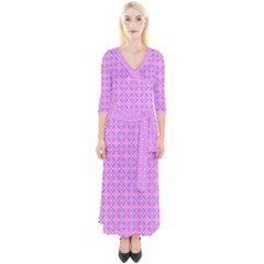 Wreath Differences Quarter Sleeve Wrap Maxi Dress