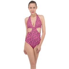 80s 90s Pattern 6 Halter Front Plunge Swimsuit by tarastyle