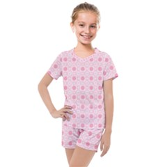 Traditional Patterns Pink Octagon Kids  Mesh Tee And Shorts Set