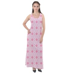 Traditional Patterns Pink Octagon Sleeveless Velour Maxi Dress