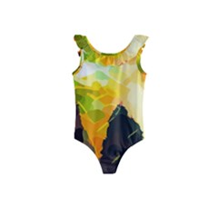 Forest Trees Nature Wood Green Kids  Frill Swimsuit
