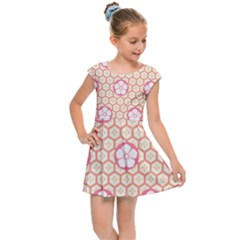 Floral Design Seamless Wallpaper Kids  Cap Sleeve Dress
