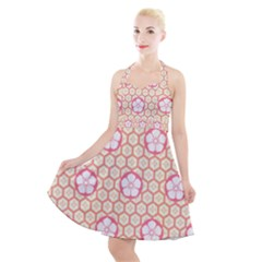 Floral Design Seamless Wallpaper Halter Party Swing Dress