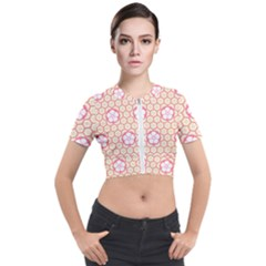 Floral Design Seamless Wallpaper Short Sleeve Cropped Jacket by Pakrebo