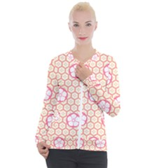 Floral Design Seamless Wallpaper Casual Zip Up Jacket