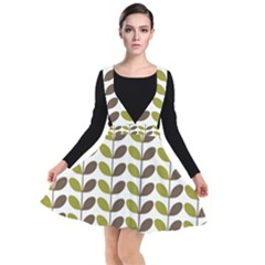 Leaf Plant Pattern Seamless Plunge Pinafore Dress