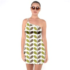 Leaf Plant Pattern Seamless One Soulder Bodycon Dress