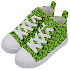 80s 90s Pattern 10 Kids  Mid Top Canvas Sneakers by tarastyle