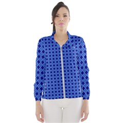 Basket Weave Basket Pattern Blue Women s Windbreaker