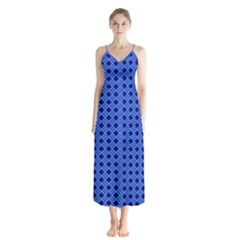 Basket Weave Basket Pattern Blue Button Up Chiffon Maxi Dress