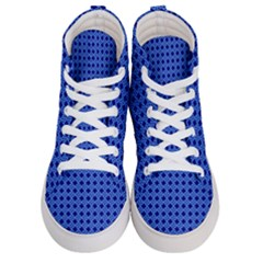 Basket Weave Basket Pattern Blue Women s Hi Top Skate Sneakers