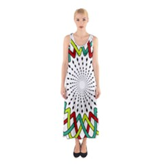 Round Star Colors Illusion Mandala Sleeveless Maxi Dress