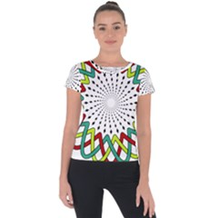 Round Star Colors Illusion Mandala Short Sleeve Sports Top  by Mariart