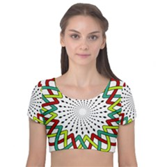 Round Star Colors Illusion Mandala Velvet Short Sleeve Crop Top