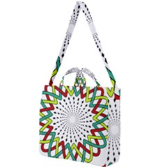 Round Star Colors Illusion Mandala Square Shoulder Tote Bag by Mariart