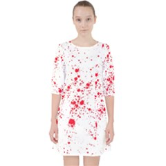 Red And White Splatter Abstract Print Pocket Dress