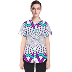 Star Illusion Form Shape Mandala Women s Short Sleeve Shirt by Alisyart