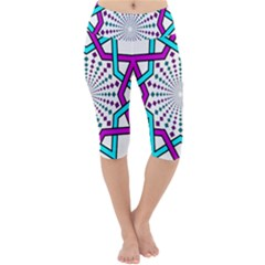 Star Illusion Form Shape Mandala Lightweight Velour Cropped Yoga Leggings