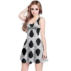Pattern Beetle Insect Black Grey Reversible Sleeveless Dress