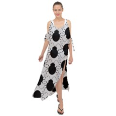Pattern Beetle Insect Black Grey Maxi Chiffon Cover Up Dress