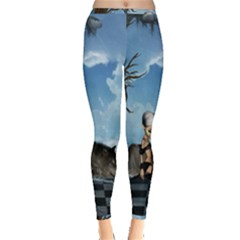 Cute Little Fairy With Wolf On The Beach Inside Out Leggings by FantasyWorld7